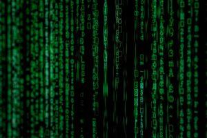 Data Protection - Matrix movie like image with green symbols falling